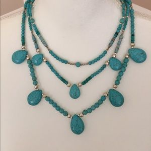 Used, J. Jill 3 Tier Turquoise NecklaceNWT for sale